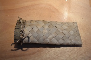 Flax check weave pouch
