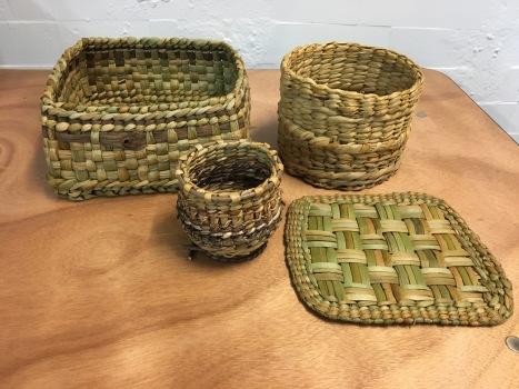 Various rush basketry items
